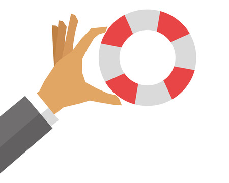 life preserver: flat design hand holding life preserver icon vector illustration