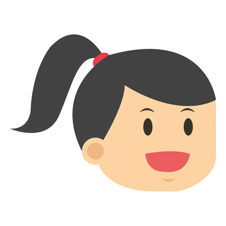 forelock: flat design face of woman icon vector illustration