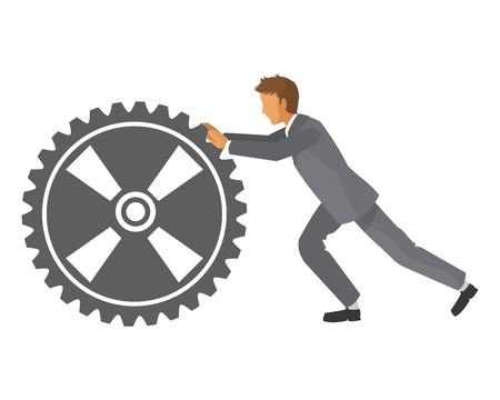 flat design businessman with gear icon vector illustration Vettoriali