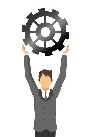 flat design businessman with gear icon vector illustration Illustration