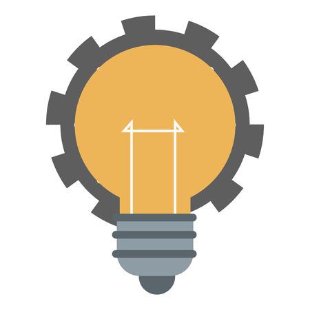 flat design lightbulb with gear icon vector illustration