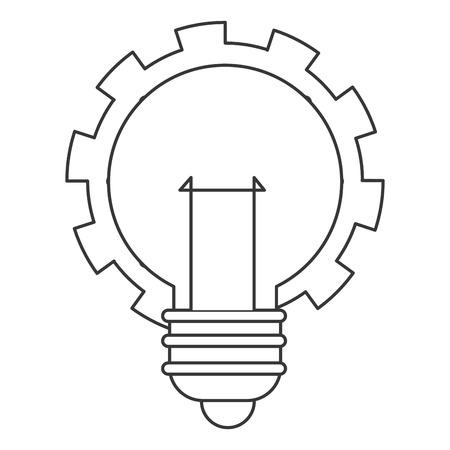 scriibble: flat design lightbulb with gear icon vector illustration