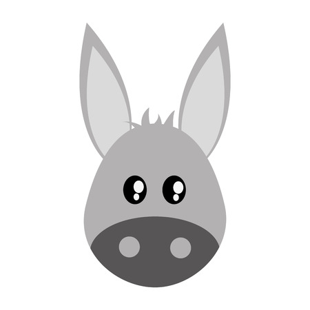 El diseño plano de dibujos animados lindo burro ilustración del vector del icono