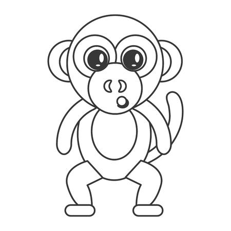 show plant: flat design cute monkey cartoon icon vector illustration Illustration