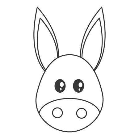 amusing: flat design cute donkey cartoon icon vector illustration Illustration