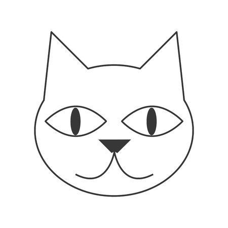 purring: flat design cute cat cartoon icon vector illustration Illustration