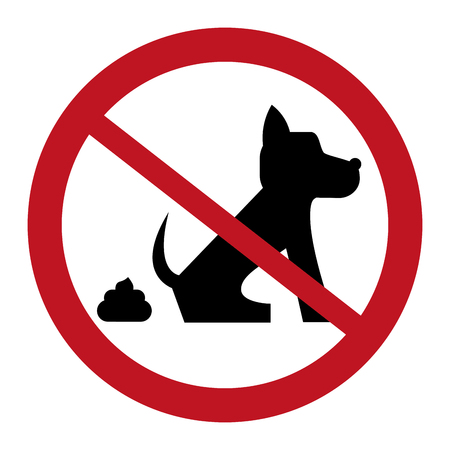 pooping: flat design no dog pooping sign icon vector illustration