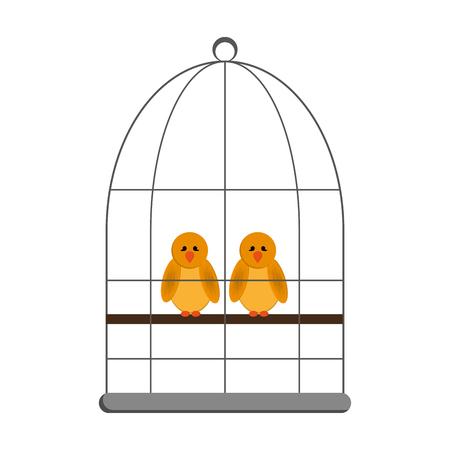 flat design birds in cage icon vector illustration Illustration