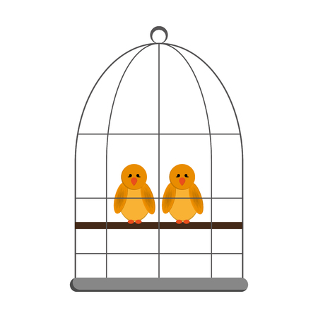 flat design birds in cage icon vector illustration Illustration