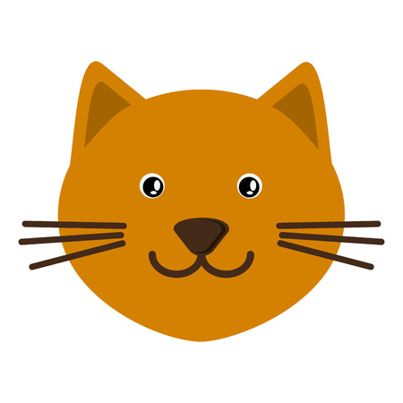 purring: flat design cute cat cartoon icon vector illustration Illustration
