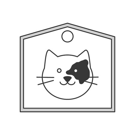 purring: flat design cute cat cartoon on label icon vector illustration