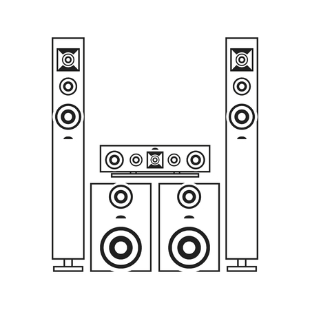 equipo de sonido: plana de diseño estéreo icono de la ilustración sistema de vectores Vectores