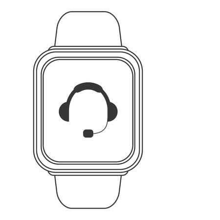headgear: flat design smart watch with headgear on screen icon vector illustration