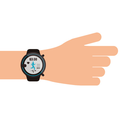 flat design heartrate wrist tracker on hand icon vector illustration Illustration