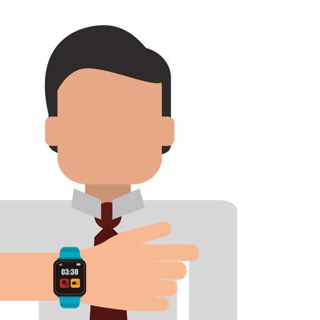 flat design person using smart watch icon vector illustration Illustration