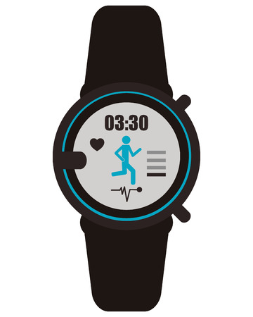 metrics: flat design heartrate wrist tracker icon vector illustration Illustration