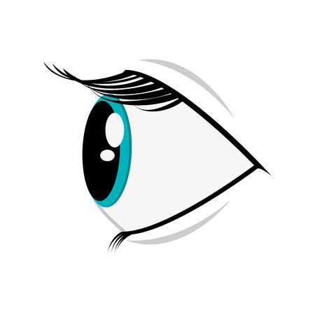 flat design cartoon eye profile icon vector illustration