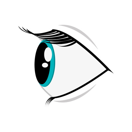 platte cartoon ontwerp oog profiel pictogram vector illustratie Vector Illustratie