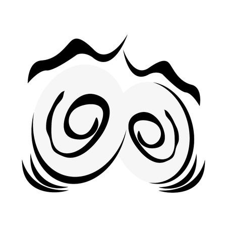 traumatized: flat design traumatized cartoon eyes icon vector illustration