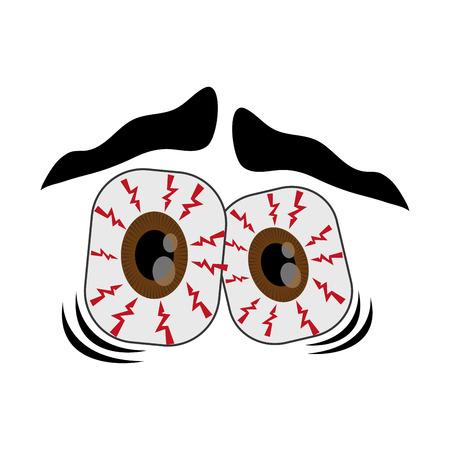 amusing: flat design frightened cartoon eyes icon vector illustration Illustration