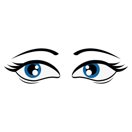 amused: flat design tired femenine cartoon eyes icon vector illustration Illustration