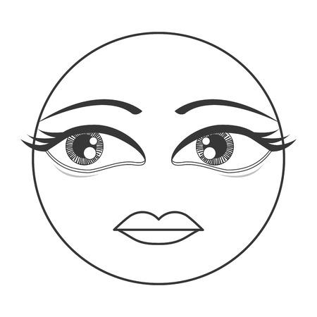 femenine: flat design femenine face emoticon icon vector illustration