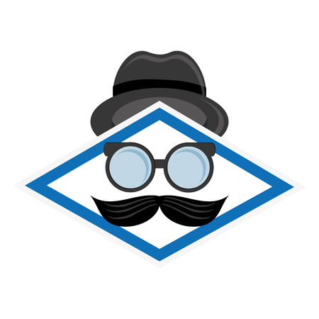 burly: flat design hat glasses and mustache icon vector illustration