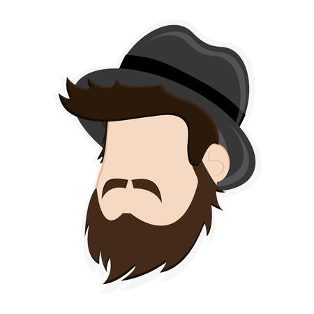 facial hair: flat design faceless man head with facial hair and hat icon vector illustration