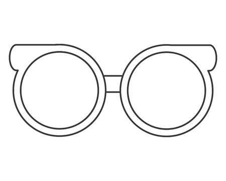 spectacle: flat design round frame glasses icon vector illustration