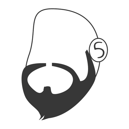 lumberjack shirt: flat design faceless man head with facial hair icon vector illustration