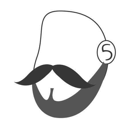 facial hair: flat design faceless man head with facial hair icon vector illustration