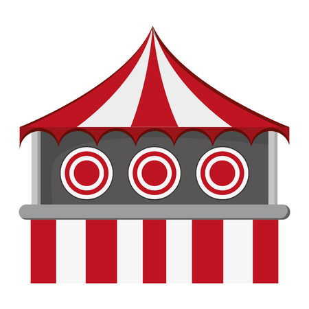 flat design bullseye tent in carnival icon vector illustration