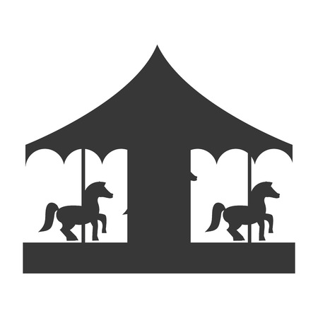 amusement park black and white: flat design pretty carousel icon vector illustration