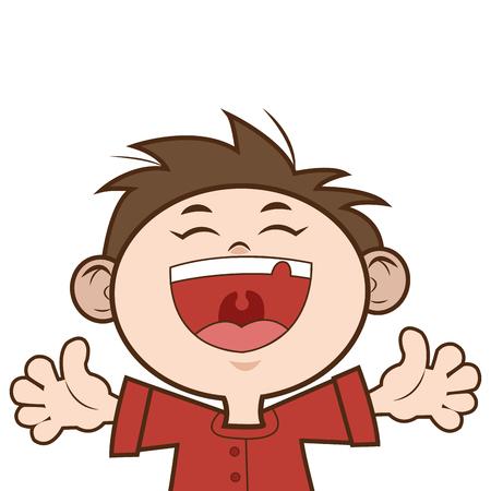 flat design happy young boy icon vector illustration