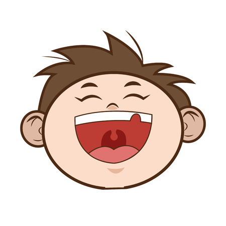 flat design happy young boy icon vector illustration