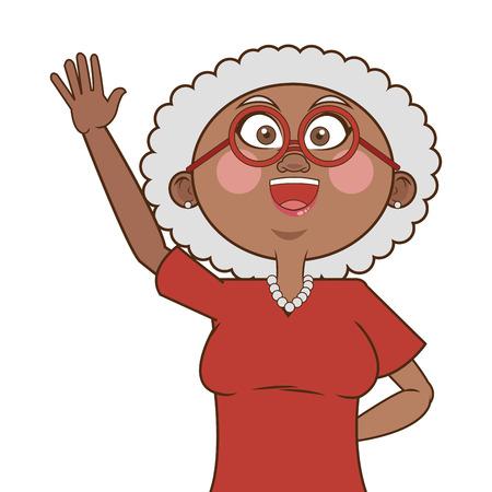 flat design dark skin senior woman icon vector illustration Illustration
