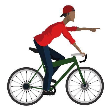 forward icon: flat design man riding bike pointing forward icon vector illustration