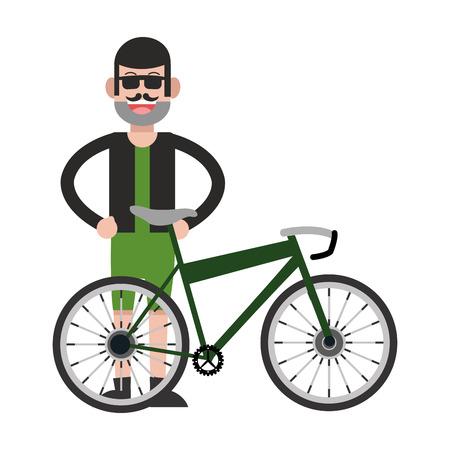 facial hair: flat design man with facial hair and bike icon vector illustration