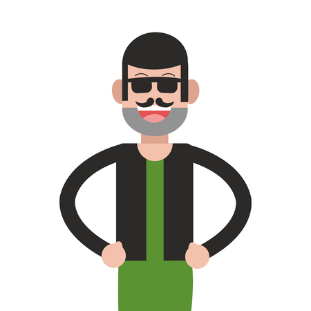 flat design man standing wearing glasses icon vector illustration