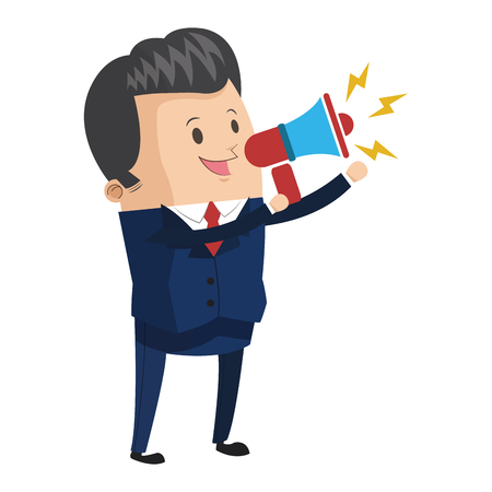 shouting: flat design businessman holding megaphone icon vector illustration