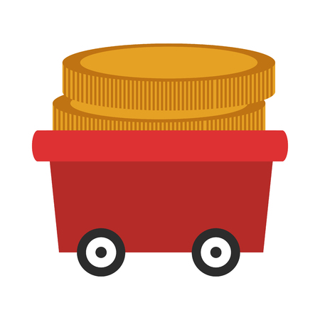 augmentation: flat design wagon with coins icon vector illustration