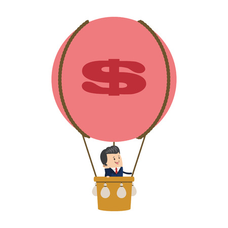 flat design businessman on hot air balloon icon vector illustration