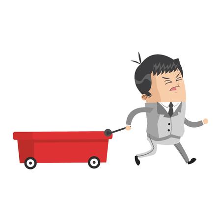 pulling: flat design businessman pulling wagon icon vector illustration