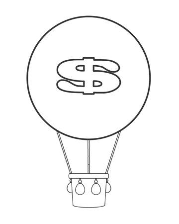 Diseño de la muestra plana dólar globo de aire caliente icono de la ilustración del vector