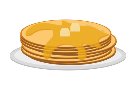 flat design pancakes on plate icon vector illustration