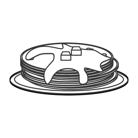 indulgence: flat design pancakes on plate icon vector illustration