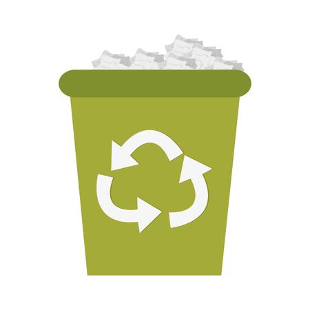flat design recycling bin icon vector illustration Illustration