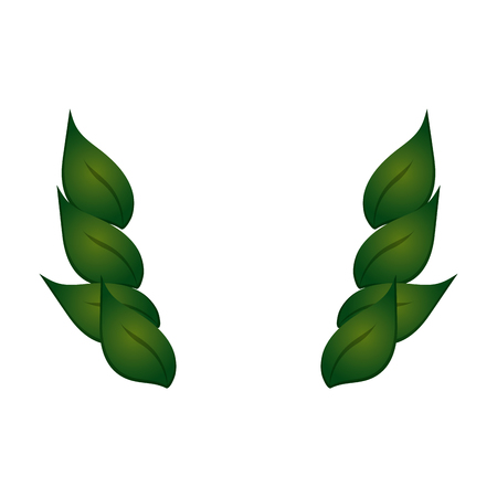 flat design leaves foliage icon vector illustration