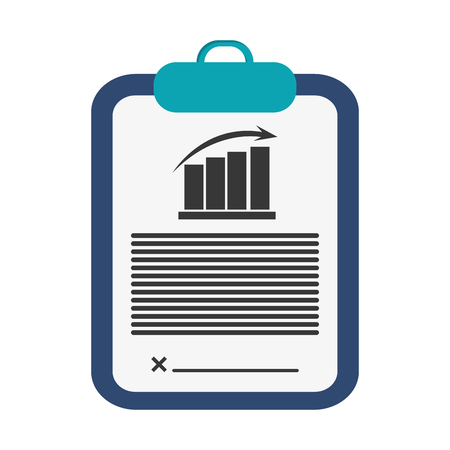 flat design clipboard with graph chart icon vector illustration