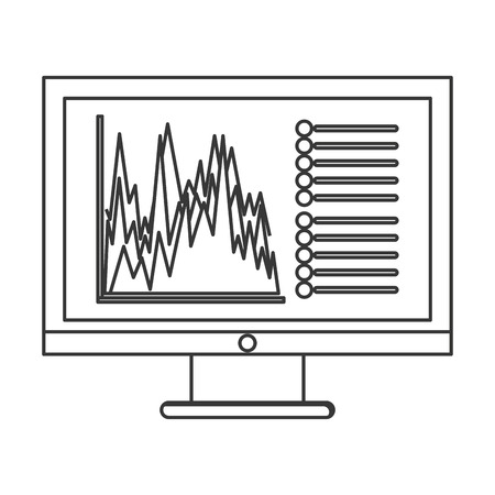 flat design computer with graph chart icon vector illustration